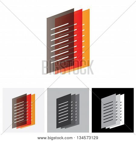Colorful Office Documents Or Paper Files - Vector Graphic