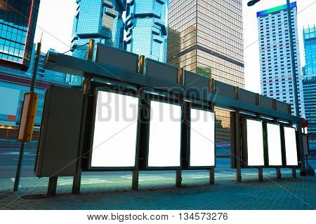 Modern city buildings backgrounds advertising light boxes of night in HongKong