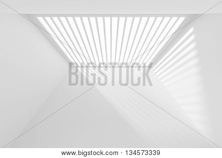 Abstract Architecture Wallpaper. White Modern Background. 3d Illustration of Prison Minimal Interior Design. Top View