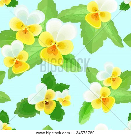 Summer seamless pattern with delicate yellow-white flowers on a light blue background.Cute floral vector illustration.Can be used for fabric, textile, wrapping paper.
