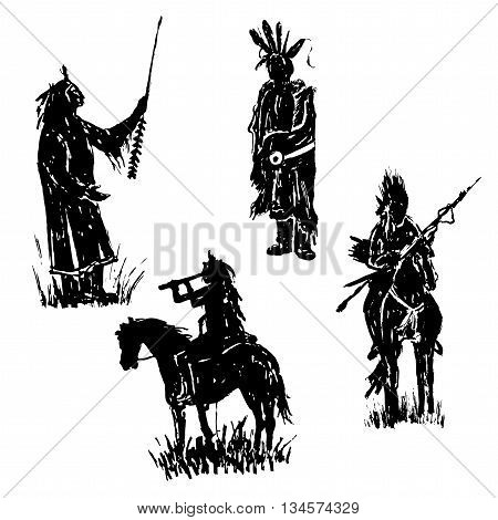 drawing elements set collection of isolated figures of American Indian warriors silhouettes sketch hand-drawn vector illustration