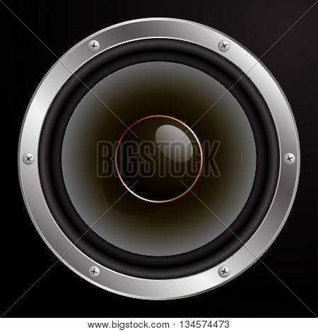 Audio speaker, vector illustration on black background