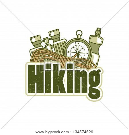 Logo Template For Hiking With Rope, Compass, Binocular And Bottle Of Water.