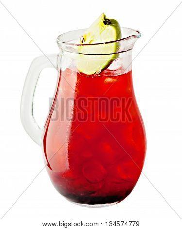 Lemonade Pitcher Isolated. Cherry Lemonade Drink on white