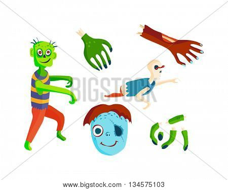 Cartoon zombie character vector illustration.