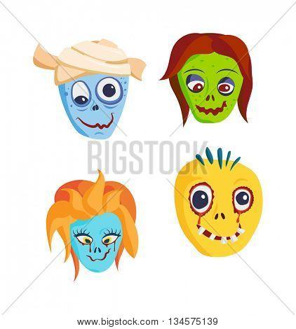 Zombie Head Cartoon icons
