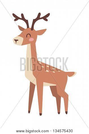 Cartoon deer vector illustration.