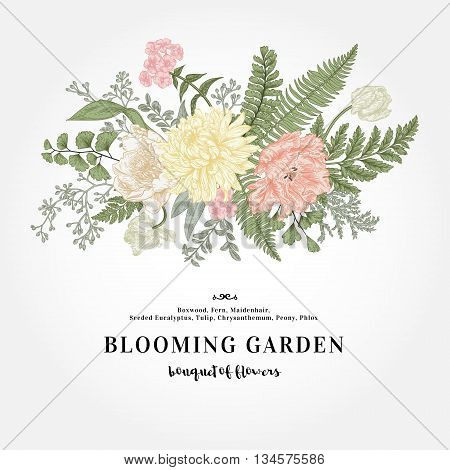 Bouquet with a vintage garden with flowers and leaves. Vector botanical illustration. Chrysanthemum tulip peony anemone ferns boxwood. Design elements. Pastel colors.