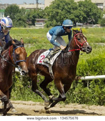Horse race for the prize Big Summer in Nalchik,Caucasus,Russia.