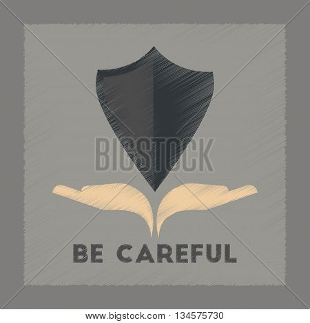 flat shading style icon nature be careful hand shield