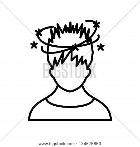 Man with dizziness icon in outline style isolated on white background