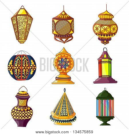vector illustration of colorful Arabic lamp for Eid celebration
