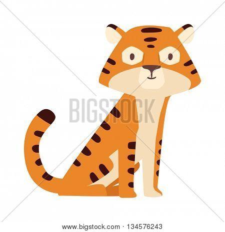 Cartoon tiger vector illustration.
