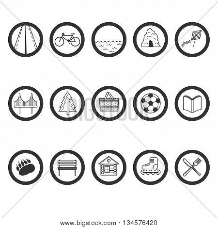 Set Of Round Icons With A Different Value. Road, Bike, Pond, Cave, Kite Flying, Bridge, Wood, Picnic
