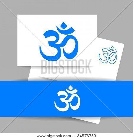 Om - hinduism symbol. Concept identity presentation design for yoga studio, meditation center. Vector graphic illustration.