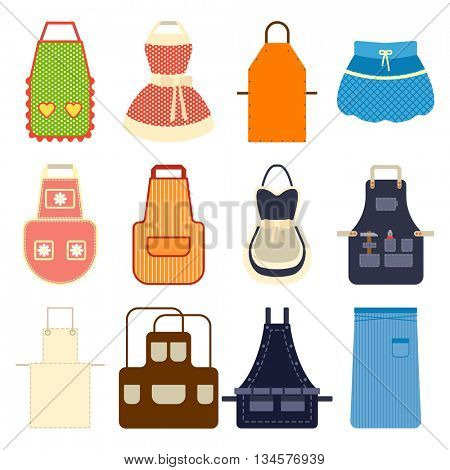 Kitchen apron set vector illustration.
