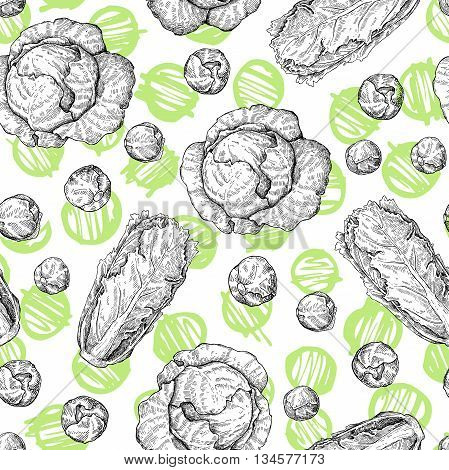 Cabbage hand drawn vector seamless pattern. Cabbage chinese cabbage brussel sprout. Isolated vegetable engraved style objects. Detailed vegetarian food drawing background. Farm market product.