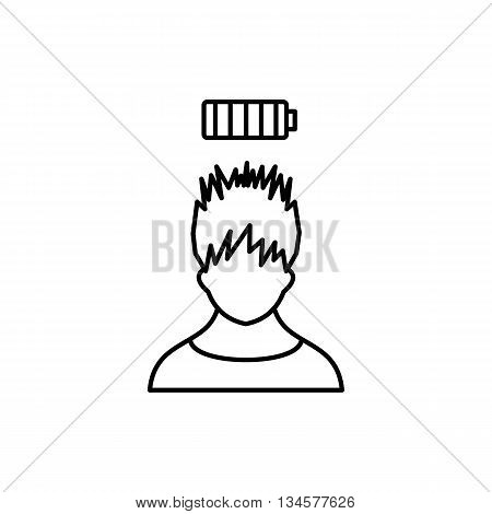 Man with low battery over head icon in outline style isolated on white background