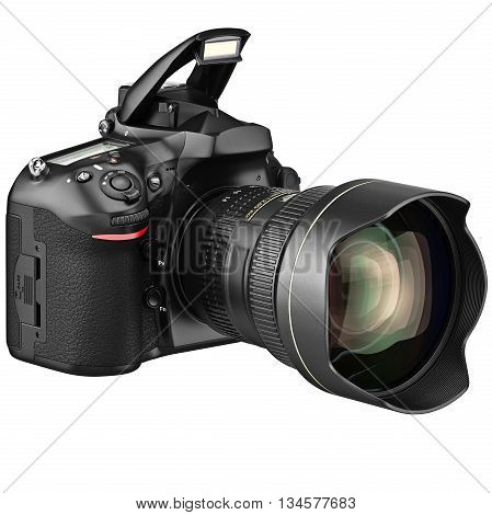 Digital camera, open flash with zoom lens. 3D graphic