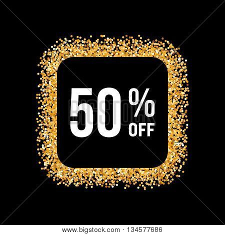 Golden Frame on Black Background with Text Fifty Percent Off