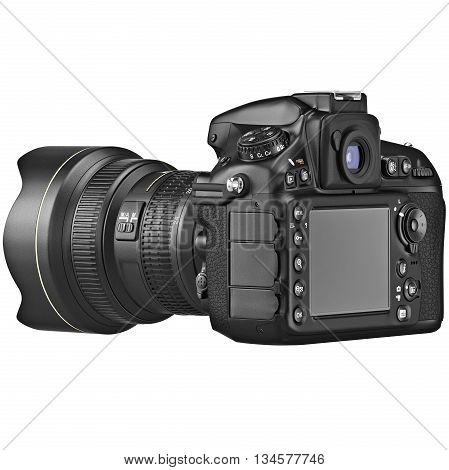 Camera with large LCD display with zoom lens. 3D graphic