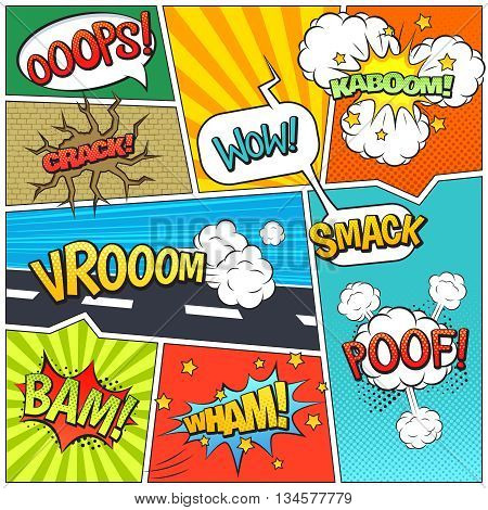 Classic comics book page sample with speech exclamations wow oops bam bubbles patterns composition abstract vector illustration