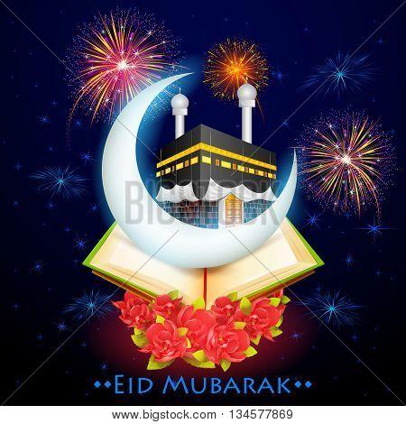 vector illustration of Eid Mubarak with Kaaba on moon