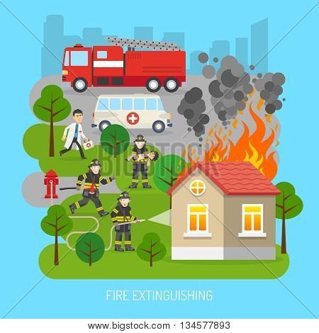 Firefighters rescuing child in fire extinction action scene with fire truck and ambulance flat abstract poster vector illustration