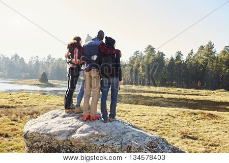 Five friends standing on a rock in countryside, back view