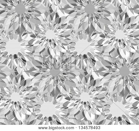 Seamless floral pattern with grey guilloche flowers. Zircon crystal seamless guilloche pattern or background. Vector illustration