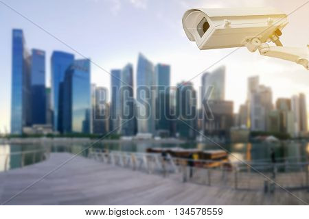 Closeup of the CCTV in the big city.