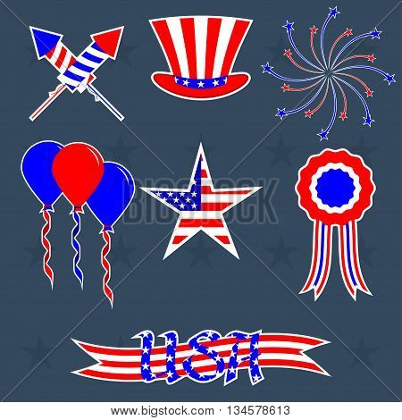 Vector set of decorations for 4th of July. Stickers for your 4th of july design. Vector elements for celebration happy independence day.