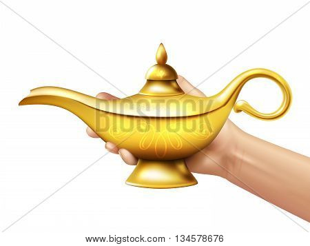 A person holds in his hand realistic golden lamp of Aladdin on white background vector illustration