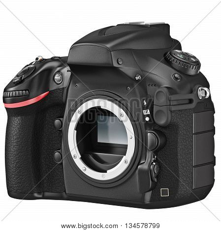 DSLR camera professional without lens. 3D graphic