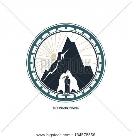 Mountain Mining, Logo Design Element, Miner against Mountains,Emblem of the Mining Industry, Label and Badge Mine Shaft, Vector Illustration