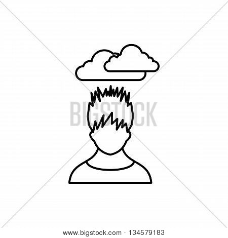 Depressed man with dark cloud over his head icon in outline style isolated on white background