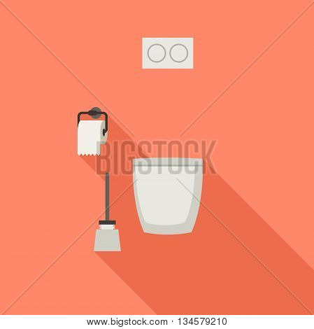 Toilet flat icon with toilet paper and toilet brush.