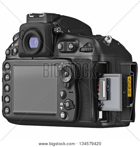 Camera device with large LCD display, cap open memory cards. 3D graphic