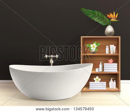 Bathroom interior poster bath in a retro style bathroom with furniture vector illustration