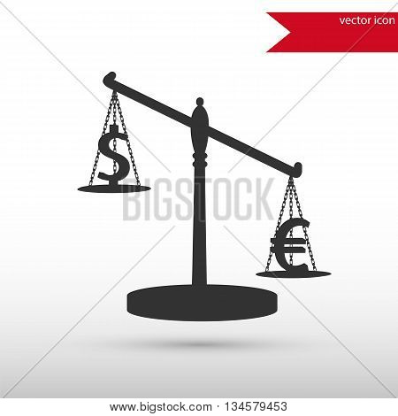 Scales with signs of euro and dollar. Black icon vector and jpg. Flat style object. Art picture drawing. Eps 10. Elements for your design. Web icons.