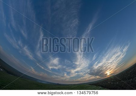 Fisheye view of an field. Countryside. Sunset