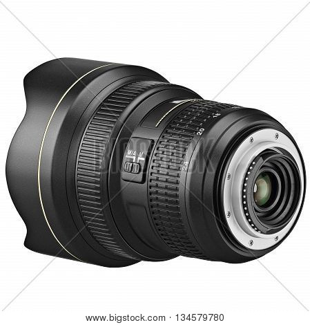 Objective zoom lens with regulators for digital camera. 3D graphic