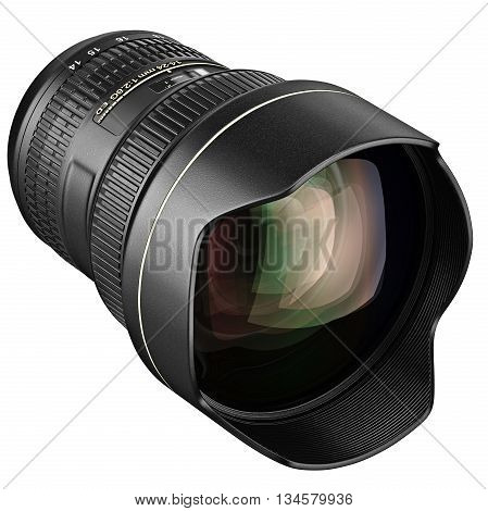 Objective DSLR zoom lens for camera. 3D graphic