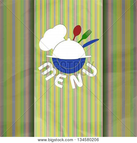 Vector illustration Cover template restaurant menu with chef hat chef fork knife and spoon.