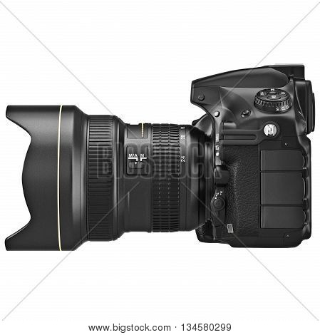 DSLR photo camera professional, side view. 3D graphic