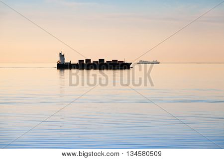 Big Industrial Container Ship Goes On Still Sea