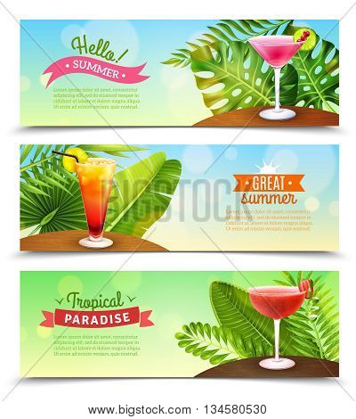 Tropical paradise summer vacation 3 horizontal bright sunny banners set with rum punch cocktails isolated vector illustration