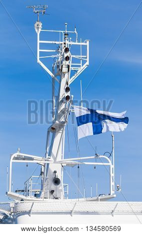 White Ship Mast With National Flag Of Finland