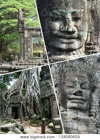 Collage Of Angkor Wat ( Cambodia ) Images - Travel Background (my Photos)