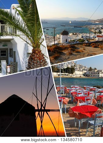 Collage Of Tropical Greece Islands Images - Travel Background (my Photos)